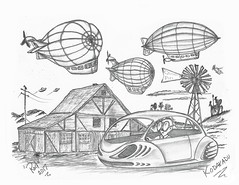 Kodakadu (rod1691) Tags: bw scifi grey concept custom car retro space hotrod drawing pencil h2 hb original story fantasy funny tale automotive art illistration greyscale moonpies sketch