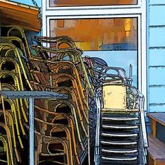 end of season (j.p.yef) Tags: peterfey jpyef yef restaurant outside chairs stack stapel window table tisch wall digitalart square germany hamburg photomanipulation elitegalleryaoi bestcapturesaoi aoi