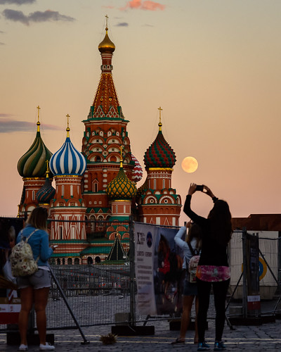 Moon next to St. Basil Cathedral