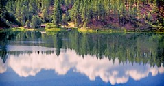 LAZY CRAZY DAYS OF SUMMER (Irene2727) Tags: traindurangotosilverton train rails colorado reflection trees clouds water blue nature landscape scape pano panorama outdoors