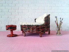 Miniature outdoor furniture bed for Pullip and other different doll. Eco-friendly. Take a visit!