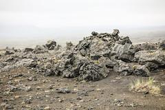Blocky Volcanic Flow (wyojones) Tags: iceland thehighlandcenter hrauneyjar volcaniclandscape highlands hálendismiðstöðin mounthekla hecla stratovolcano ash basaltflows tephra highway paved fog rain mist landscape aa blocky geology wyojones