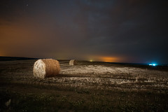 Hay Bales (free3yourmind) Tags: hay bales bale harvest stormy weather clouds cloudy night belarus field lights