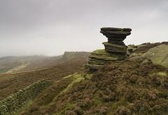 Salt Cellar (l4ts) Tags: landscape derbyshire peakdistrict darkpeak derwentedge upperderwentvalley saltcellar dovestonestor gritstoneedge gritstonetors drystonewall heather moorland mist lowcloud