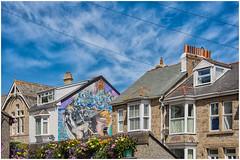 St Ives , Cornwall ... (miriam ulivi) Tags: miriamulivi nikond7200 england stives cornwall cornovaglia case houses fiori flowers tetti roofs comignoli chimneys cielo sky architecture murales