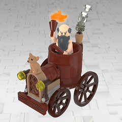 Musings about Diogenes (Unijob Lindo) Tags: lego leg godt bricks brick toy render blender mecabricks diogenes cynic greek philosopher philosophy greece car vehicle background cart kart mario racers racing videogame 3d ldd digital designer wheel wheelcart barrel old wood man senile dog cynism smoke fire chihuahua wooden board moc own creation brown reddish