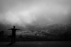 Clouds in the Valley (explored 2017-09-05) (c-u-b) Tags: schwarzweis blackandwhite landschaft landscape rhön berge hügel wolken cloudysky clouds silhouette silhouettes travelphotography reisefotografie