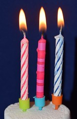 It's my Flickr birthday (flowergirlaaa) Tags: birthday anniversary candles three 3 light celebration minimalism flickr pink blue candlelight macro