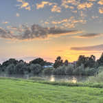 Sunset at the river Weser thumbnail