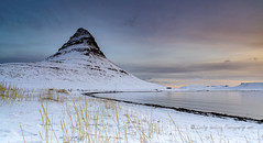 Kirkjufell, breaking dawn (pixellesley) Tags: iceland mountain dawn daybreak predawn beach coastline grasses sky clouds shore ocean waves calm reflections landscape lesleygooding snow ice frozen