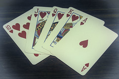 Royal Flush (IAN GARDNER PHOTOGRAPHY) Tags: cards hand ace king queen jack ten hearts poker pokerhand