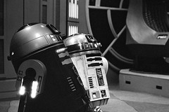 R2 Units - Fan Expo Canada (Richard Wintle) Tags: blackandwhite bw droids robots sciencefiction starwars fanexpo canada toronto ontario conventioncentre 135 55mm smc takumar pentax asahi spotmatic spotmaticf film 35mm ilford hp5 adox adonal standdevelopment semistand