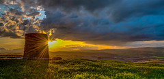 Sometimes you just get lucky! Views from Montgomery War Memorial, Powys (christaff1010) Tags: sunburst d750 landscape sunset midwales panorama clouds wales vista rainbow britain green sunstar sun powys sky sunlight hills rain uk montgomery unitedkingdom gb