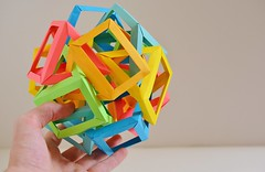 Twelve Interlocking Irregular Triangular Prisms #2 (Byriah Loper) (Byriah Loper) Tags: origami origamimodular modularorigami modular paperfolding paper polygon polyhedron byriahloper wireframe woven