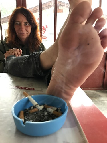 Mature foot fetish visible, not