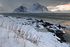 SW-wards view from Vareid beach-mounts along Flakstadpollen-bay: Flakstadtinden-Stortinden-Bonnaken-Stabben-et al. Flakstadoya-Lofoten-Norway.0442 (rweisswald) Tags: view panorama landscape seascape snowscape mountainscape fjord bay inlet sea pollen breakingwave tide watersurface surf flakstadpollen snow snowy snowcovered snowblanket snowcappedmountain peak rugged craggy mulstotinden ytresandheia vassdalstinden flakstadtinden stortinden bonnaken stabben pilten nonstinden kollfjellet rock boulder rockycoast beach seaside seashore shoreline cloud cloudy overcast stormysky vareid flakstadoya lofoten nordlandfylke norway