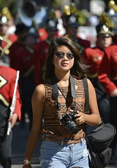 Photographer On Parade (swong95765) Tags: parade woman photographer shades band marching pretty