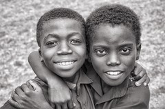 Best friends (Pejasar) Tags: bw blackandwhite africa westafrica school ghana winneba faces portrait bestfriends