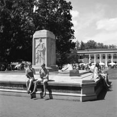 Bestor Plaza Fountain (Matt0513) Tags: bestor plaza fountain public park chautauqua institution ice cream rolleicord vb tlr 120 medium format film 6x6 fujifilm neopan 100 acros