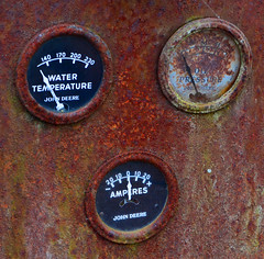 Gauges (davidwilliamreed) Tags: old rusty crusty metal john deere tractor gauges abandoned neglected forgotten rust decay patina weathered watertemperature oilpressure amperes oxidized oxidation