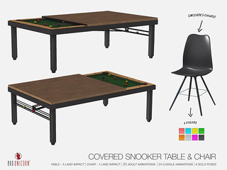 OUT NOW! Covered Snooker Table & Chairs @ TMD!