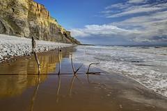 Like a monkey in a zoo (pauldunn52) Tags: traeth mawr whitmore stairs wet sand reflection beach art like glamorgan heritage coast wales
