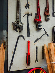 The Missing (Steve Taylor (Photography)) Tags: missing stencil wrench adjustable spanner stake wheel crowbar black red yellow brown grey metal wood plywood newzealand nz southisland canterbury christchurch tools