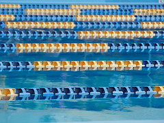 a pool for a swimming race (murozo) Tags: pool swimming race lane water course rope float プール 競泳 水泳 レーン 水 コースロープ フロート