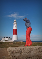 Keeper of the Light... (Harleynik Rides Again.) Tags: portlandbill lighthouse blue sky model glamour facelessportrait backshot legs heels olympusxz1 pointnshoot harleynikridesagain