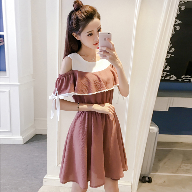 2017 New Girls Summer small fresh strapless dress skirt sweet A words of the junior high school students