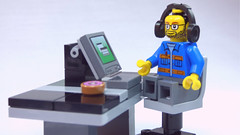 Brick Yourself Custom Lego Figure  Computer Geek with Donut