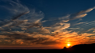 wonderful sunset with cirrus-clouds