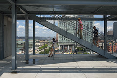 Rooftop Stairs (Eddie C3) Tags: newyorkcity manhattan whitneymuseumofamericanart cityscapes museums nyc urbanlandscape architecture stairs hudsonriver