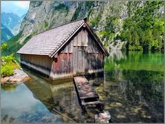 Bootshütte Obersee (almresi1) Tags: oberbayern bavaria obersee lake see house hütte haus steg water wasser spiegelung mirror spiegel rocks felsen berchtesgaden königsee