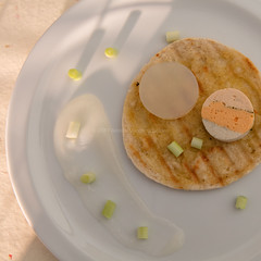 Fish terrine and gel on grilled bread. (annick vanderschelden) Tags: pita bread oliveoil grilled stripes plate white highpointofview fishterrine cod whiting mullet gelation gel agar lime scallions chopped belgium