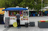 Getting Ready for the Lunch Time Rush (Jocey K) Tags: newzealand nikond750 southisland christchurch architecture sky clouds buildings demolition cbd city people trees cathedralsquare foodvan signs streetart
