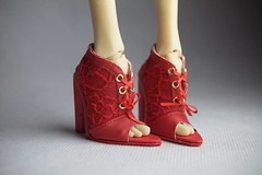 PashaPasha red shoes (UrsiSarna) Tags: ursi sarna fashion pasha pashapasha doll resin shoes boots hand made miniature
