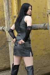 Anna-Lena 18 (The Booted Cat) Tags: sexy black hair model gothic girl leather miniskirt crop whip overkneeboots overknee buffalo mistress