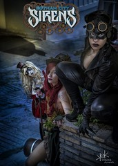 Steampunk Gotham Sirens: Cover of Issue #3: Batman's Trap (SpirosK photography) Tags: steampunk steampunkgothamsirens gothamsirens poisonivy maruchan studio photoshoot victorian portrait strobist nikon d750 athens greece spiroskphotography cosplay costumeplay harleyquinn aileen aileenautumn hammer yourfacehere ailiroy catwoman gotham city urban