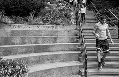 Steps (dennisfromthere) Tags: analog street photography bw ontario canada ilford monochrome blackandwhite bandw 2017 noiretblanc outdoor urban toronto people nikon city september f3 classicblackwhite stairs hp5