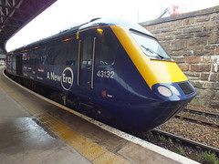 43132 Ex First Great Western HST sits at Dundee after arrival from Aberdeen on driver training duties . This is the first set to be released to Scotrail for another lease of life going between Scotland's 7 cities . (Western SMT) Tags: hst 125 fgw first great western pc mk3 scotrail abelio dundee new era