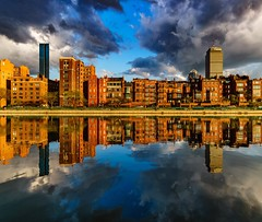 Boston Reflections ((Jessica)) Tags: brownstones newengland goldenhour water sonya6000 buildings massachusetts rokinon12mm skyline lagoon rokinon boston clouds esplanade sony reflections backbay