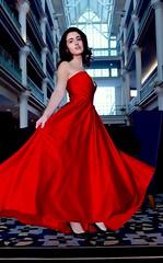 Rita at the Loews Hotel (dpken@att.net) Tags: model reddress dancing beautiful female color photosession lowangle fashion gown actionpose