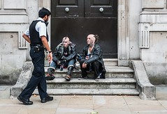 The Dog (Peter Murrell) Tags: dog punks punkrock streetphotography londonstreetphotography london police