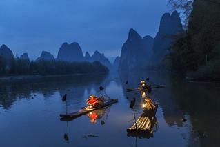 Night fishing boats