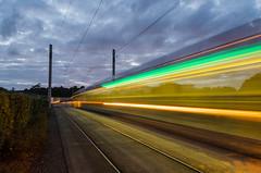 Light Trails - DSC_0408 (John Hickey - fotosbyjohnh) Tags: 2017 august2017 lehaunstown laughanstown dublin ireland luastram lighttrails nighttime longexposure manfrotto190 night bluehour tram light lighttrail citadis alstomcitadis