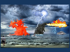 Mutant Monte with Godzilla in Stormy Weather 8 8 2017 (Monte Mendoza) Tags: montemendoza godzilla fire pacific ocean water beach ship oceanliner cruiseship cruise lightning storm rain bathing bath mutant mutation ua armpit underarm axila monster dinosaur
