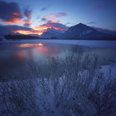 Banff sunrise (Zeb Andrews) Tags: zeroimage pinhole lensless banff sunrise colorfilm kodakektar100 filmphotography canada canadianrockies mtrundle alberta landscape vermillionlakes frozen winter blue