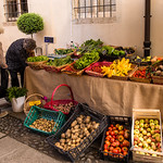 A gardener selling her produce in Intra, Italy thumbnail