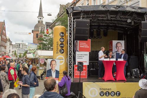 Diskussion mit Tiemo Wölken MdEP und Hanna Naber auf dem Oldenburger Stadtfest.